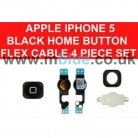 iPhone 5 home Menu Button with Flex Cable Metal Cover Contacts SET Black