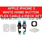 iPhone 5 home Menu Button with Flex Cable Metal Cover Contacts SET White