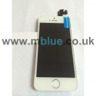 iPhone 5S Complete LCD and Digitizer with Gold Home Button and Flex in White   Including Front Camera/Speaker unit